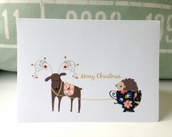 Funny Christmas cards .  Holiday cards . Personalized Christmas cards . Unique Christmas cards . Reindeer and hedgehog