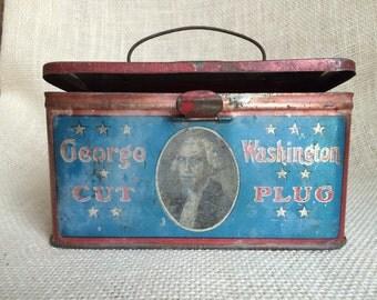 Vintage George Washington Cut Plug Tobacco - Lunch Tin - Early 1910s
