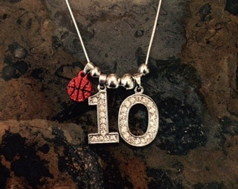 "16"" Personalized Rhinestone Sports Jersey TWO Number Necklace BASKETBALL Charm MOM"