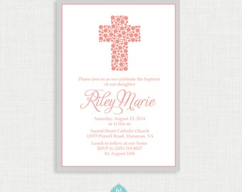 Printable Baptism Invitation- Polkadot Baptism Invitation - Baby Dedication, First Communion, Confirmation, Christening - Printable template