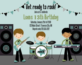 Rockstar Invitation - Boys Rockstar Birthday Party Invite - Superstar Invite
