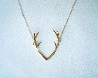 Antler Necklace - Silver Antler Necklace - Deer Antler Necklace - Dainty Antler Necklace - Thin Deer Antler Necklace - mothers day gift