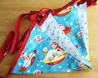 Retro rocket kids bunting in reds and blues