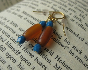 Amber and turquoise glass bead earrings on gold-plated wire