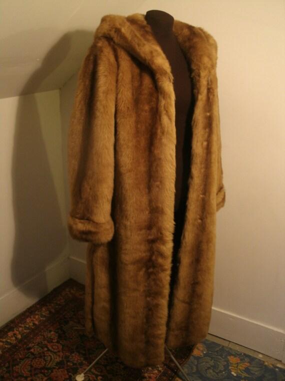 Faux Fur Full Length Maxi Hooded Cape Style Coat Jacket