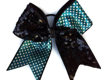 Cheer bow,Teal,black,silver,dots