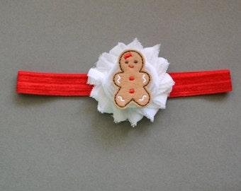 Christmas Gingerbread Headband, Baby Christmas Headband, Gingerbread Girl Headband, Newborn Christmas Headband, First Christmas Headband