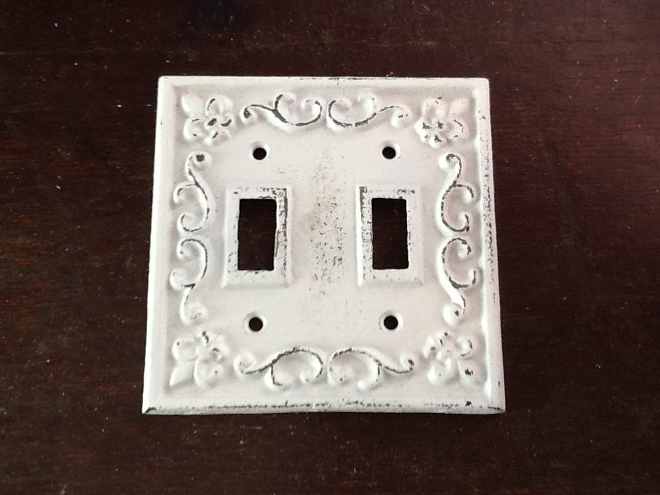 Double Switch Plate Cast Iron White Victorian Style