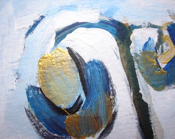 Blue Flowers original abstract painting aceo