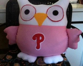 Pink Phillies Owl Pillow- inspired by Philadelphia Baseball