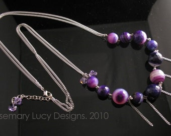 Stainless Purple Twinkle Candy necklace with agate and Swarovsky Crystals jewelry women