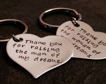 Set of two mother in law keychains thank you for raising the man of my dreams woman of my dreams wedding