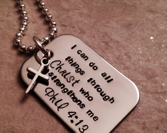 I can do all things through Christ who strengthens me Philippians 4:13 hand stamped personalized necklace