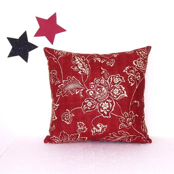 Maroon Floral Decorative Pillow Cover 14 x 14