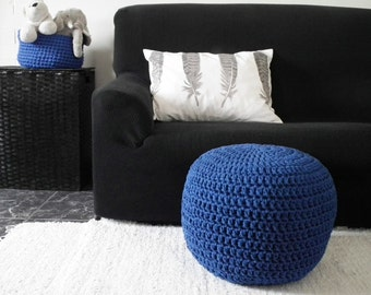 Cobalt Pouf Ottoman- Royal Blue Foot Pouf- Nursery Ottoman Chair-Glider Chair Footstool-Crochet Floor Cushion-Floor Pouf-Pouffe-Knit Ottoman