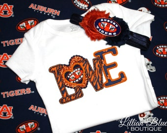 Auburn Tigers Inspired Applique Onesie/Shirt and matching headband