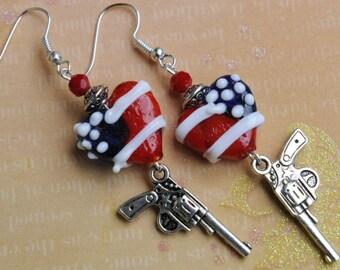 Valentine earrings. Patriotic earrings. Heart earrings. American flag earrings. 4th of July earrings. Stars & stripes earrings.
