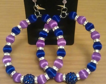 Love and Hip Hop and Basketball wives inspired earring with purple and blue beads