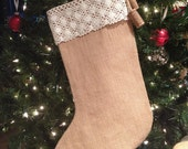 ON SALE! Burlap & Lace Shabby Chic Christmas Stocking With Cute Wine Cork Detail
