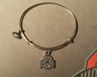 """Adjustable Silver Bangle Bracelet with Silver """"The Ohio State"""" and  Football Charms"""