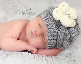 Knit Baby Hat, Cable Baby Hat, Knit Baby Girl Hat, Baby Hats, Baby Girl Hat, Knit Newborn Hat, Gray Knit Cable Baby Hat