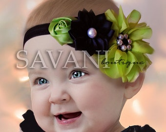 BEST DEAL  green and black baby headband, baby girl headband, shabby chic headband, elastic headband