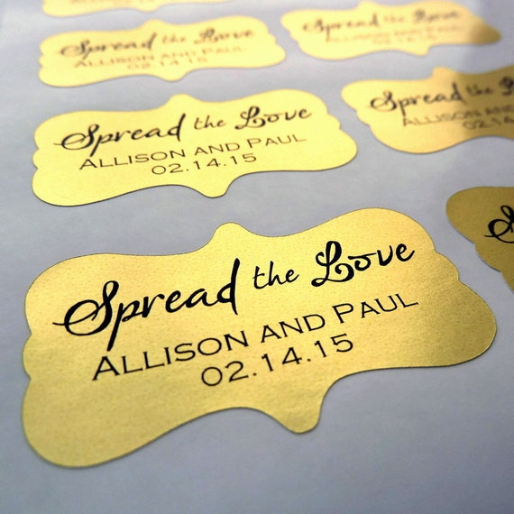 Wedding Favor Sticker Spread The Love Sticker  X - Custom gold foil stickers