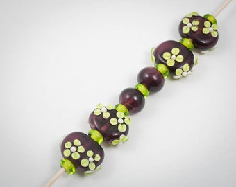 Lampwork Hollow Bead Set in Dark Purple and Lime Green