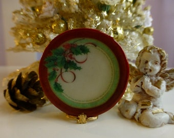 Red Christmas Berries Plate for Dollhouse