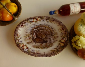Queen's Thanksgiving Turkey Dollhouse Miniature Porcelain Tray
