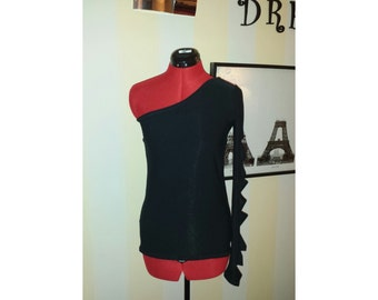 Black one shoulder with slashed sleeve