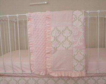 Pink and Taupe Damask Baby Patchwork Blanket with Pink Ruffles