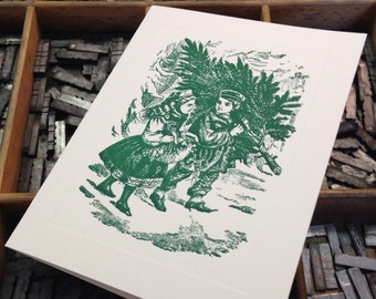 "Letterpress Christmas Cards ""Carrying Christmas Tree Home"" - Set of 10 cards with matching envelopes"