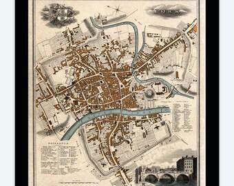 Old Map of York England 1822 United Kingdom