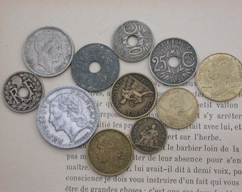 French old coins collection huge lot 200pcs Antique vintage coins 1910s 1920 1930 1940  1950 1960 1970 1980 1990   collectible  charm