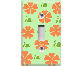 Flower Pattern-Green and Orange Light Switch Cover
