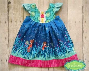 Girls Flutter Sleeve Dress - Handmade Summer Ruffle Sleeve Dress - Firefly Lightning Bugs Wee Wander - Baby Toddler 3 months to girls 8