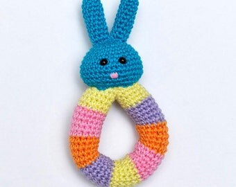 Crochet Baby Bunny Rattle Natural Cotton Handemade rabbit plush toy FREE SHIPPING