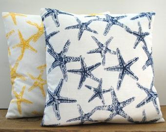 1 navy nautical  pillow cover, cushion, decorative throw pillow, accent pillow, shells pillow, 20x20