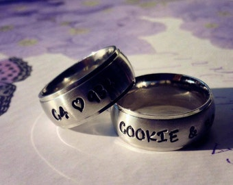 Derby Wife Rings, Derby Wives, TriBand Domed Personalized / Engraved Pair of Derby wife rings  TBDSS02