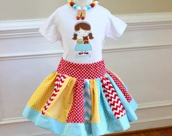 Birthday Dorthy outfit Wizard of Oz outfit Girls Dorothy Birthday Wizard of oz outfit skirt set  aqua red yellow gingham