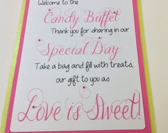 Candy Buffet Welcome Sign - Weddings - Birthdays - Baby Showers - Candy Sign