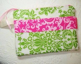 Pink and Green Damask Fabric Zipper Pouch / Clutch / Makeup Bag - Ready to Ship