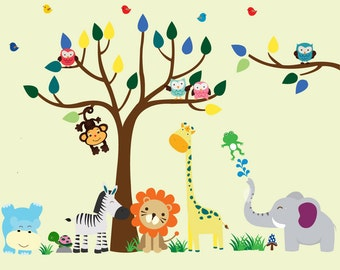 Jungle Safari Tree Wall DECAL, Reusable FABRIC Decal, Jungle Decal - N151