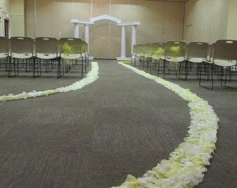 Custom rose petal wedding aisle runner border