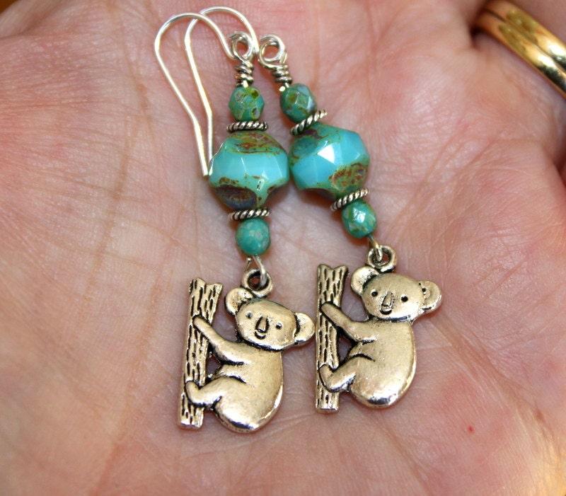 charming koala earrings unique boho jewelry teal