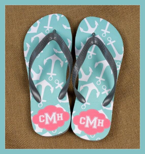 Flip Flops Monogrammed Gift Bridal Party Bachelorette Party Wedding Teacher Gift Personalized Custom Flip Flops Sorority Gifts for Mom