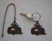 Rustic Rusty Rusted Recycled Metal Charm Airstream GLAMPER CAMPER Trailer Ceiling Fan Pull / Light Pull or Key Chain