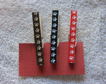 Decorative Paw Print Clothespins with or without magnets