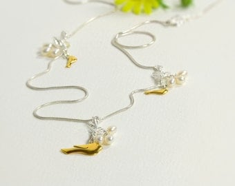 Gold Bird Necklace - Long Silver Chain Necklace with Birds and Pearls - Sterling Silver Necklace - Bohemian Necklace